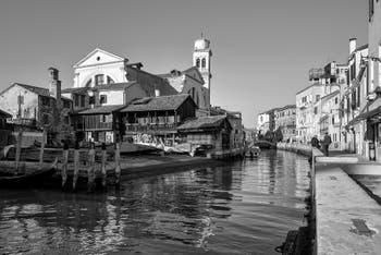 San Trovaso Squero, Canal and Church in the Dorsoduro District in Venice.