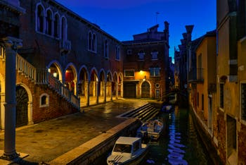 The Becarie Canal and the Rialto Market in the San Polo District in Venice.