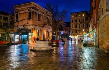 The Santi Apostoli Square by night in the Cannaregio District in Venice.