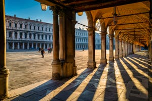 Play of Light under the Procuratie in St. Mark's Square in Venice.