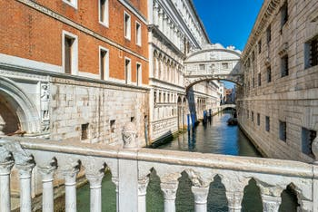 The Doge's Palace and the Bridge of Sighs in Saint Mark in Venice.