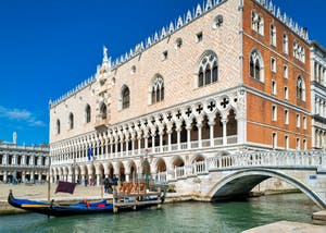The Doge's Palace and the Paglia Bridge in the Saint-Mark District in Venice.