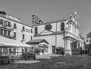 Santa Maria Zobenigo Church and Square, also named Santa Maria del Giglio, in Saint Mark in Venice.