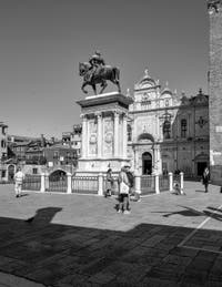 San Giovanni e Paolo Square and statue of Bartolomeo Colleoni in the Castello District in Venice.