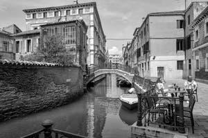 San Severo Canal, Bridge and Square in the Castello District in Venice.