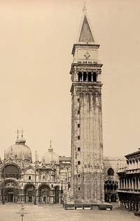 The Campanile Bell tower of Saint-Mark in 1870