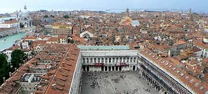 View from the Bell tower of Saint-Mark in Venice Italy