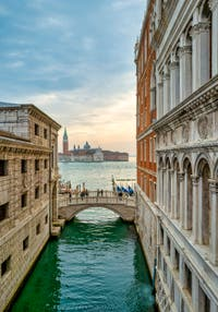 The view on Saint-Mark basin from the inside of the Bridge of Sighs