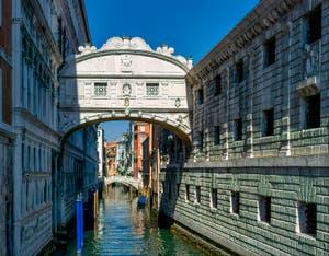 The Bridge of Sighs in Venice, over the Palazzo o de la Canonica Canal.