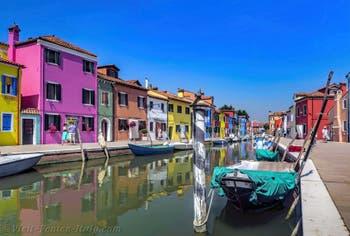 Burano Island Canal and coloured houses