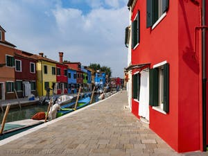 Burano Island Canal and coloured houses
