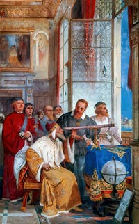 Galileo presents its telescope to Doge Leonardo Donato, fresco by Giuseppe Bertini, Villa Ponti Varese