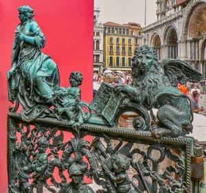 Saint-Mark Bell Tower Loggia's bronze doors by Antonio Galli in Venice Italy