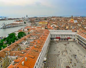 The view from Saint-Mark Bell Tower and Square in Venice Italy