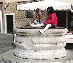 campo san stefano venice italy well children play