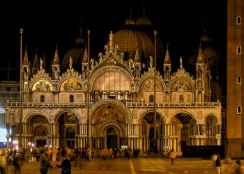 Saint-Mark Basilica by Night, in Venice in Italy