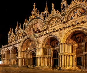 Saint-Mark Basilica in Venice by night