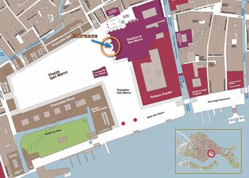 Location Map of Saint-Mark Basilica in Venice Italy