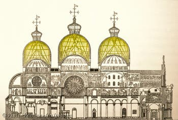 Saint-Mark Basilica's plan section of the domes and the timber structure of the cupolas