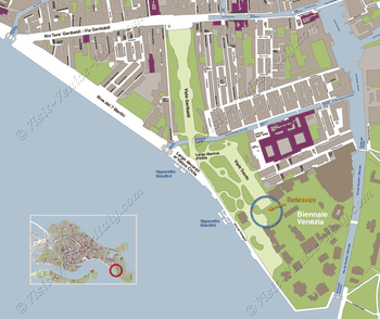 Situation Map of Biennale of Art Giardini Pavilions in Venice Italy
