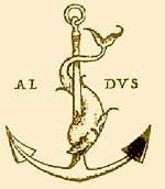 Dolphin marks emblem of Aldo Manuzio Venice Italy