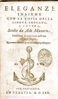 Book printed by Aldo Manuzio in Venice with his mark logo of a dolfin and an anchor
