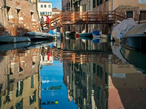 Rio del Ghetto Canal in Venice in Italy