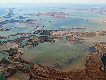 Aerial view of Venice italy and its lagoon