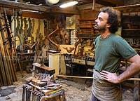 Paolo Brandolisio Remer, in his workshop Venice Italy