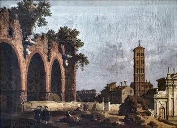 Canaletto, View of the Roman Forum with the Basilica of Maxentius and Constantine and the Church of Santa Francesca Romana, Borghese Gallery in Rome