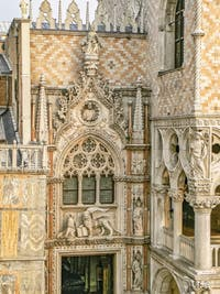 The Porta della Carta, the papers door, Doge's Palace in Venice in Italy
