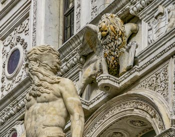 Neptune and Saint-Mark Lion on the Giant Staircase of the Doge's Palace in Venice