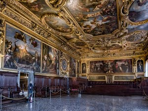 Senate Hall, Doge's Palace in Venice in Italy