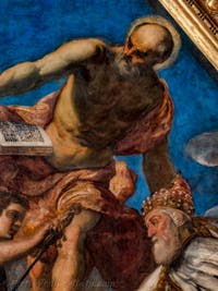 Jacopo Robusti, Tintoretto,The Doge Girolamo Priuli receives from Justice the scales and the sword, Doge's Palace in Venice Italy