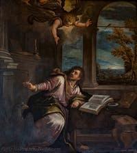 Paolo Veronese, Saint John the Evangelist writes the Revelation or Apocalypse, Atrium Doge's Palace in Venice in Italy