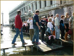Aqua Alta with a Venice policeman for the Pedestrian Traffic