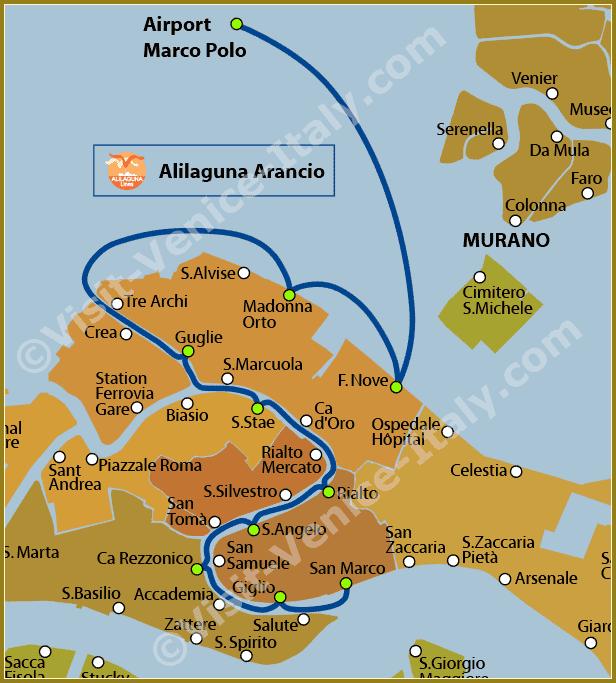 Venice Water Bus Vaporetto - Map of Line Alilaguna Arancio