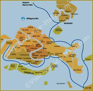 Alilaguna Blu Line Map in Venice