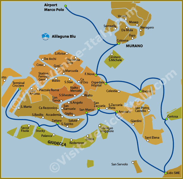 Venice Water Bus Vaporetto - Map of Line Alilaguna Blu