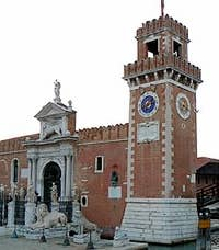 Entrance of the Arsenal of Venice Italy