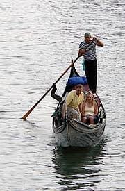 Gondola on Grand Canal Venice Italy