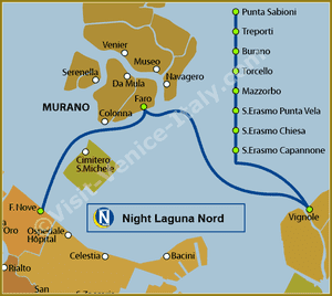 Line Map N Night Laguna Nord Vaporetto Water Bus in Venice ACTV