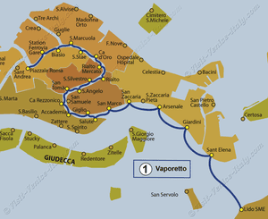 Water Bus Vaporetto Line Map number 1 in Venice in Italy