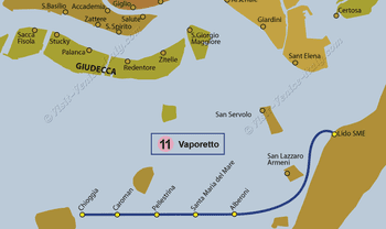 Water Bus Vaporetto Line Map number 11 in Venice in Italy