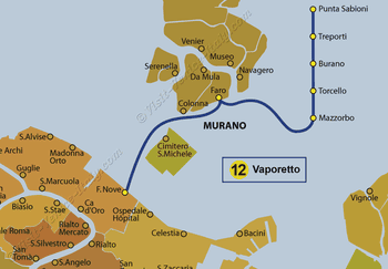 Water Bus Vaporetto Line Map number 12 in Venice in Italy