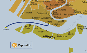 Water Bus Vaporetto Line Map number 16 in Venice in Italy