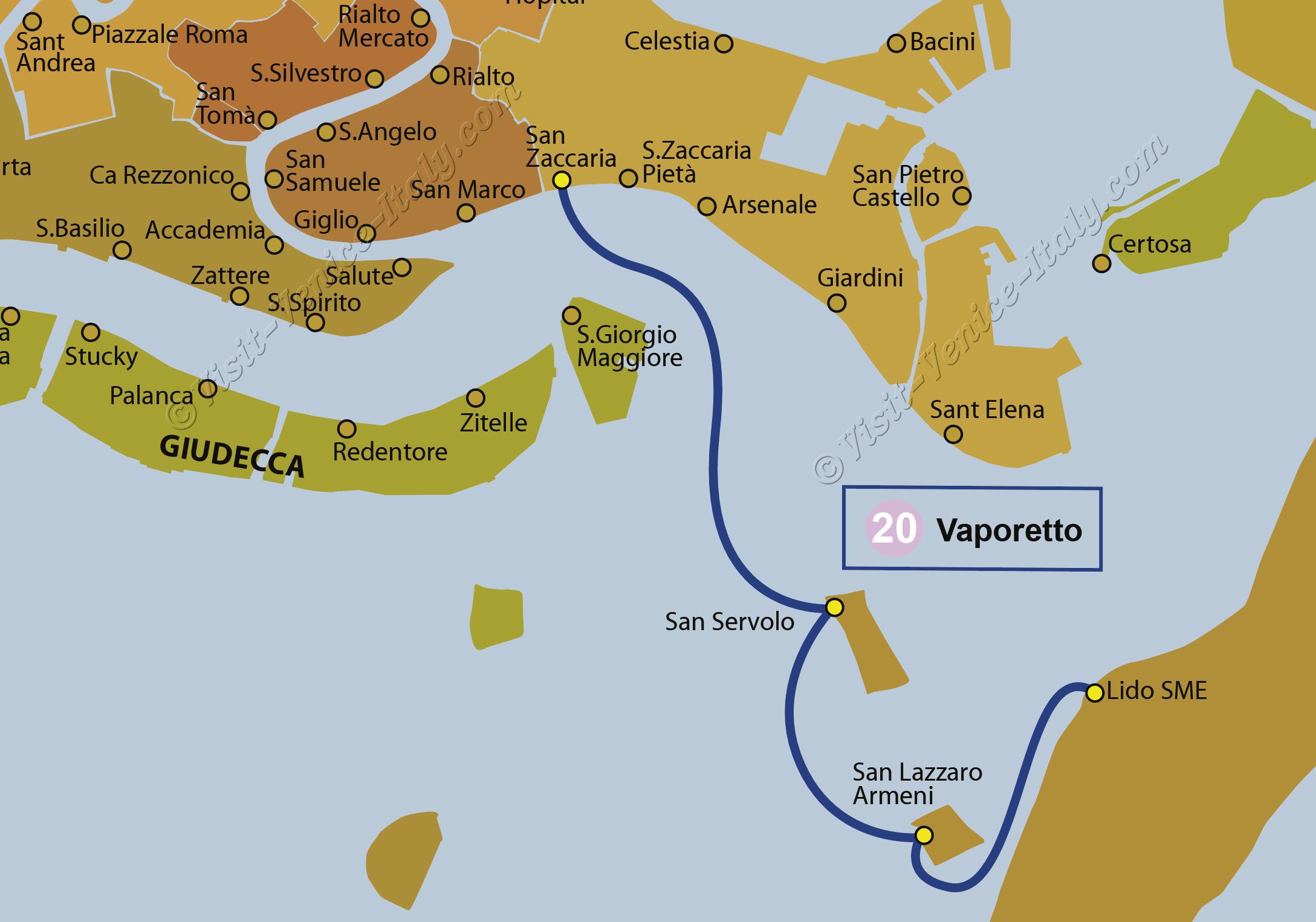 Water Bus Venice Vaporetto Map of Line 20 ACTV