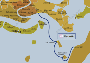 Water Bus Vaporetto Line Map number 20 in Venice in Italy