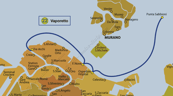 Water Bus Vaporetto Line Map number 22 in Venice in Italy