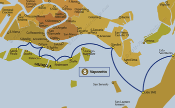 Water Bus Vaporetto Line Map number 8 in Venice in Italy